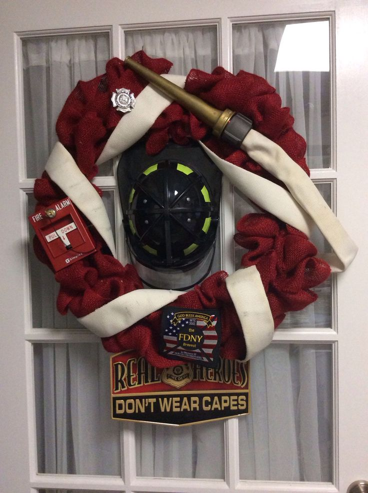 This is a wreath I made for my daughter in law to give my son for Valentines Day. He is a career firefighter and a local volunteer firefighter.