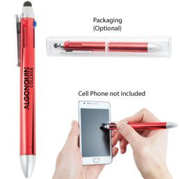 O239RD Recycled plastic stylus and pen Includes 4 colour refills: 2 Black, 1 Blue and 1 Red Available in Black, Blue, Red, Green and Silver