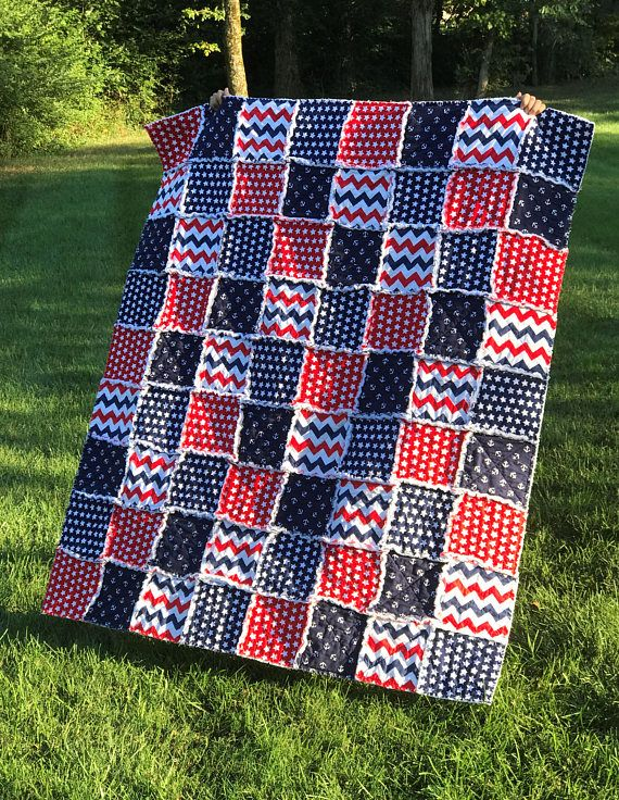 Rag Quilt Patriotic Quilt Anchor Quilt Star Quilt Red