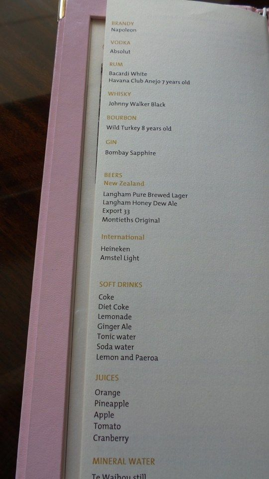 Club Lounge Menu at the Langham Auckland Hotel in New Zealand