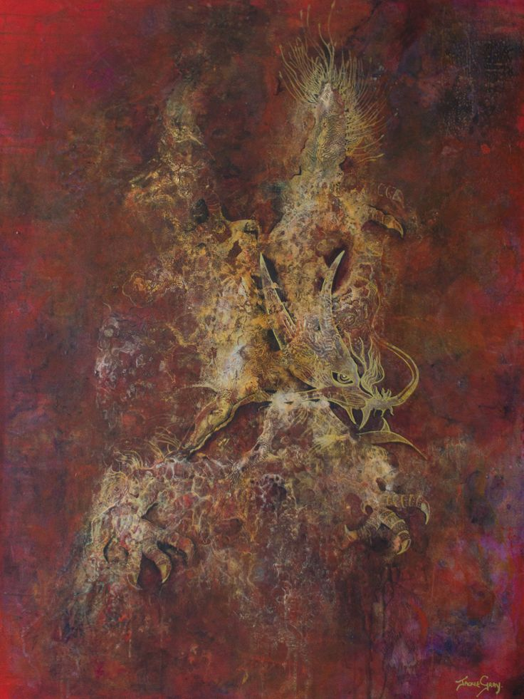 """Mixed Media Painting by Jackie Gray Artist - Red and Gold Dragon """"Wealth Beyond Reason"""""""