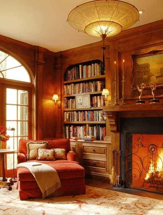Cozy home library   Dream Home   Pinterest