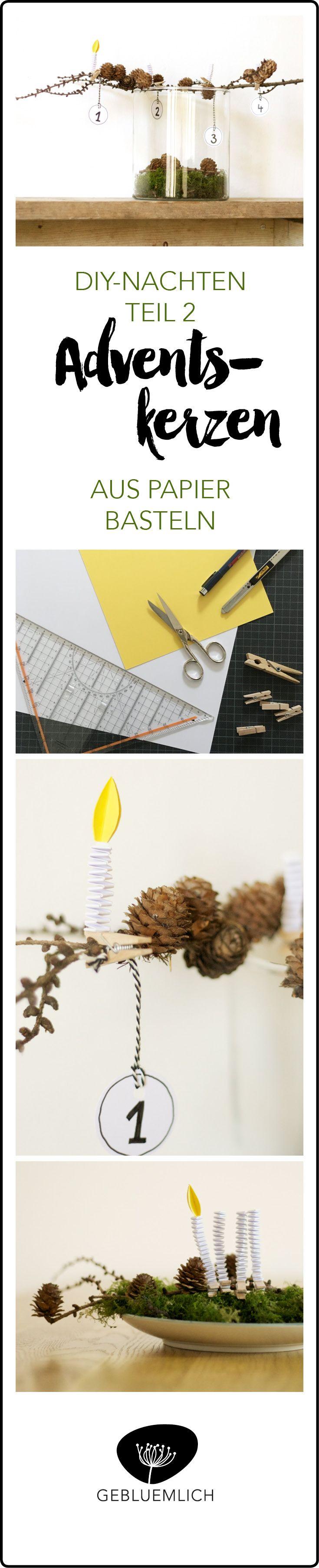Wenn Ihr eine Idee für einen etwas anderen Adventskranz sucht, versucht es doch mal mit gebastelten Kerzen aus Papier. Sie sind ruckzuck fertig und absolut ungefährlich.