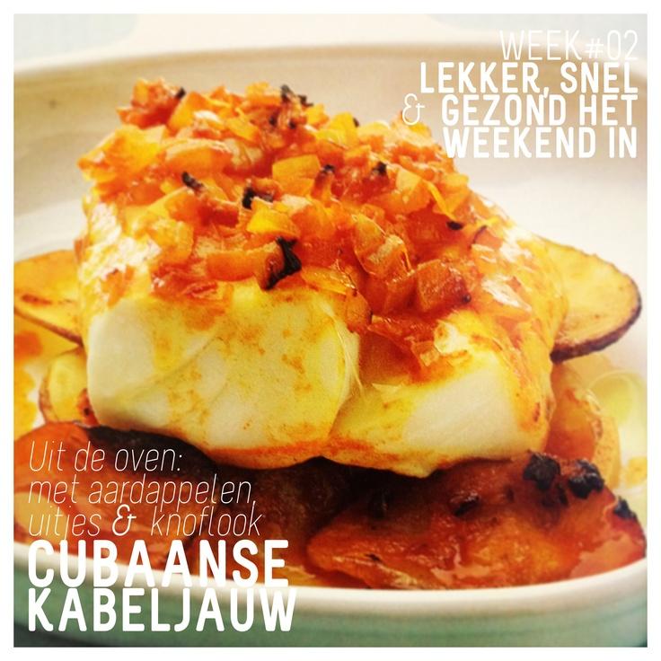 WK 2: Supersnelle Cubaanse Kabeljauw: weerstandverhogend en goed voor de bloedsomloop.   #kabeljauw #ui #aardappel #knoflook #chilipepers  *365 snelle & gezonde recepten - Kirsten Hartvig