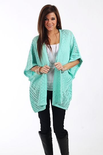 Hint Of Mint Cardigan, Mint from the Mint Julep Boutique $40