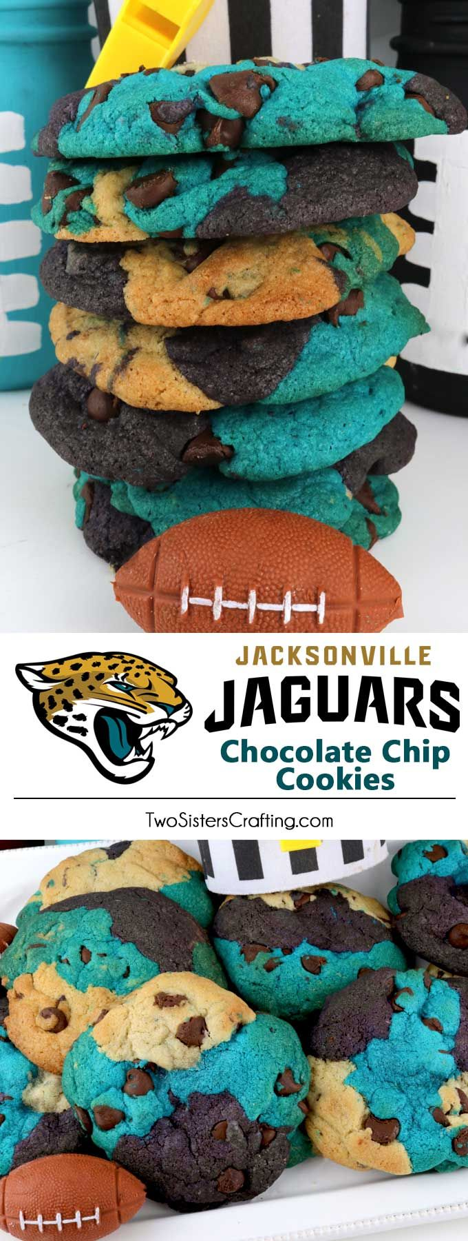 Jacksonville Jaguars Chocolate Chip Cookies - a classic cookie recipe suited up in team colors. Super easy to make and it will definitely wow your family and friends as a Football Game Day dessert or a Super Bowl Party Food. Go Jaguars! Pin this fun Super Bowl treat for later and follow us for . more Super Bowl Food Ideas. #JacksonvilleJaguars #Jaguars #GameDayTreat #SuperBowl #SuperBowlParty #JacksonvilleJaguarsFood
