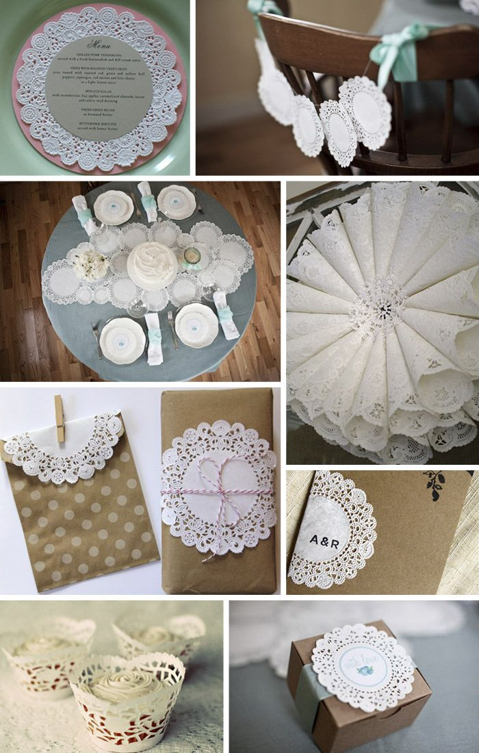 Paper Doily Wedding Ideas...kinda cute! I like the program and favor ones (couldn't figure out how to just pin them!)