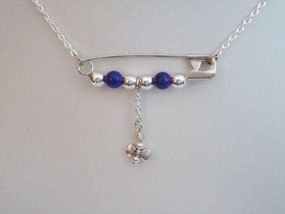 Purple Necklace Silver Jewelry Safety Pin Jewellery by cdjali, $16.00