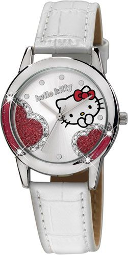 HELLO KITTY Crystals White Leather Strap HK2600-641