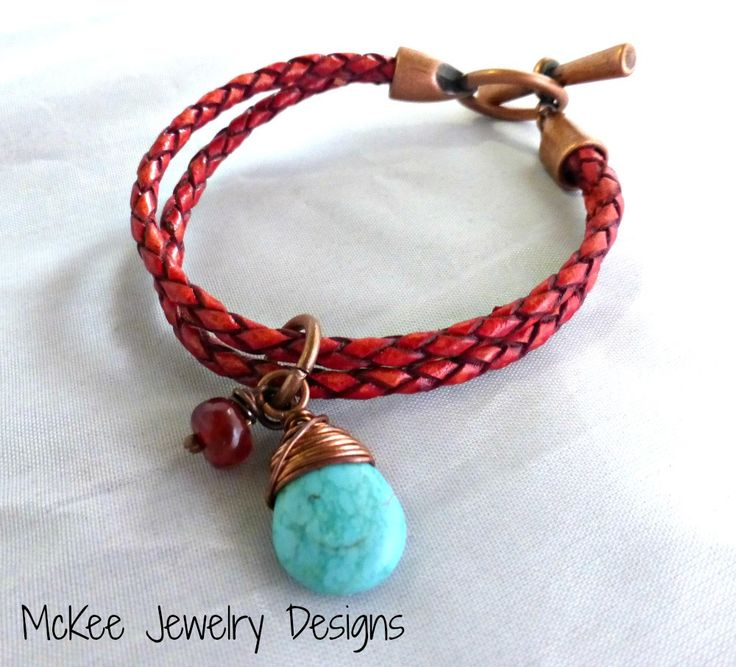 Burnt red braided leather bracelet, stone and copper. Leather jewelry.