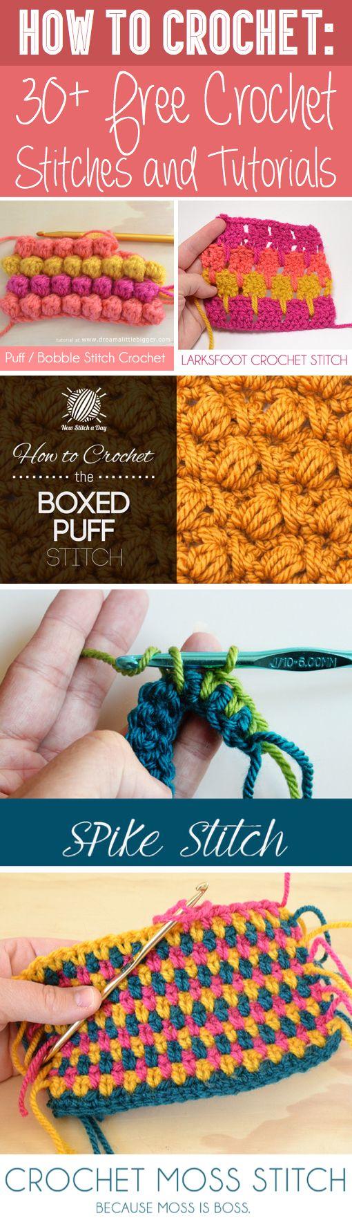 How To Crochet: 30+ Free Crochet Stitches and Tutorials ༺✿ƬⱤღ https://www.pinterest.com/teretegui/✿༻