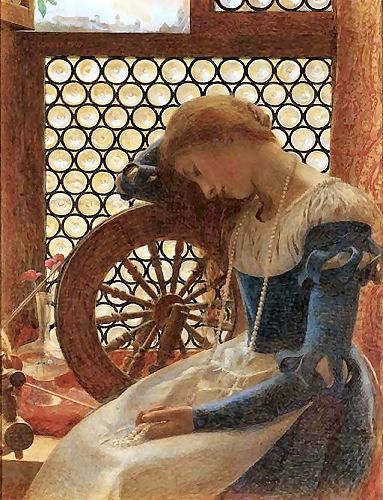 Margaret Alone at Her Spinning Wheel        Frank Cadogan Cowper ( English Pre-Raphaelite Painter, 1877-1958 )