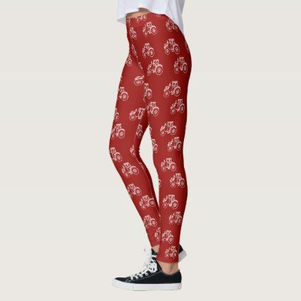 Red White Tractor Farm Leggings - red gifts color style cyo diy personalize unique
