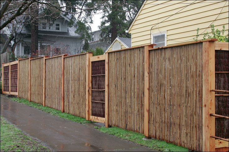 Bamboo And Pine Brush Fence With Cedar Roof Portland