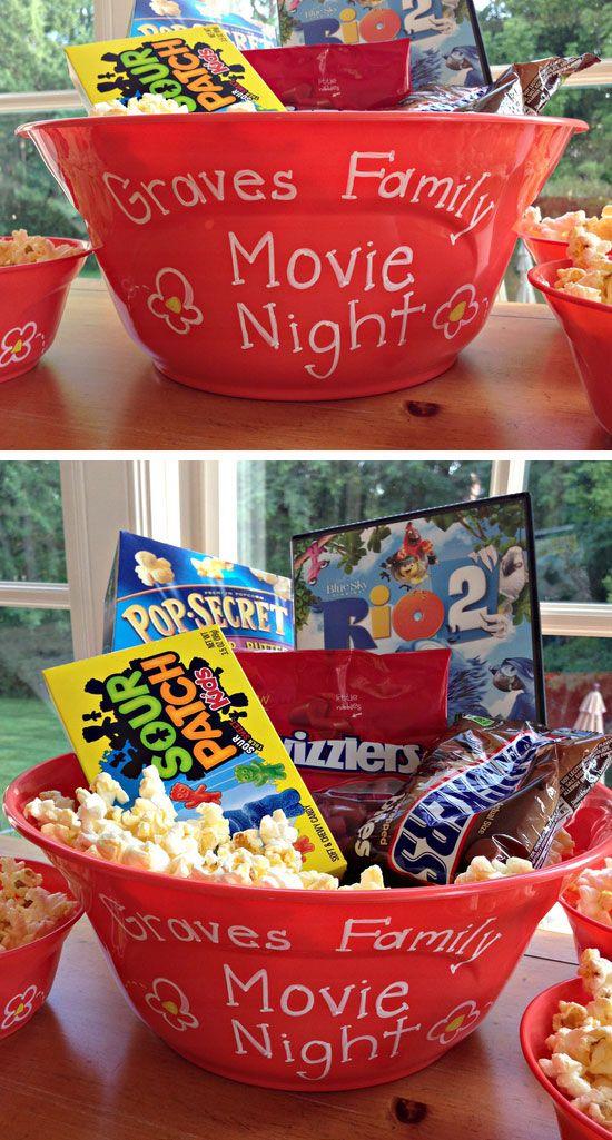 Movie Night Bucket | 20+ DIY Christmas Gifts for Kids to Make