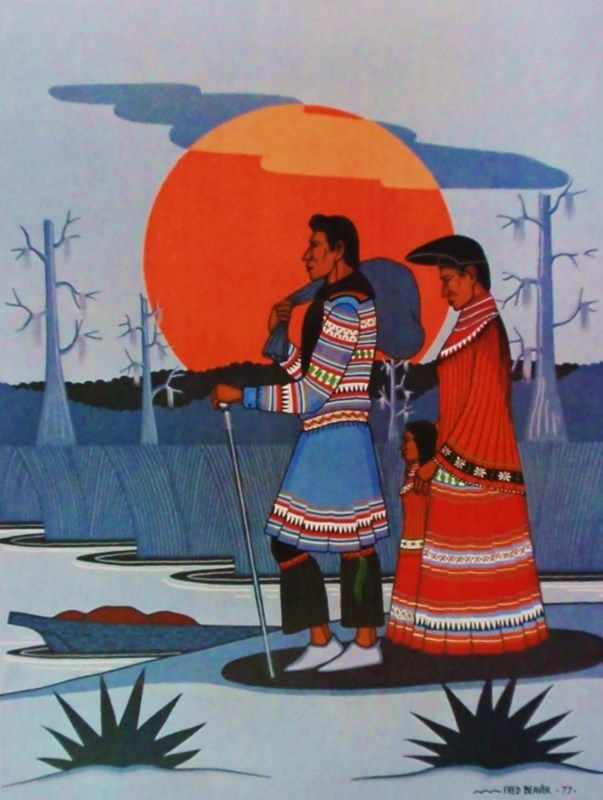 Leaving For Trading Post by Fred Beaver (1911-1980),Creek