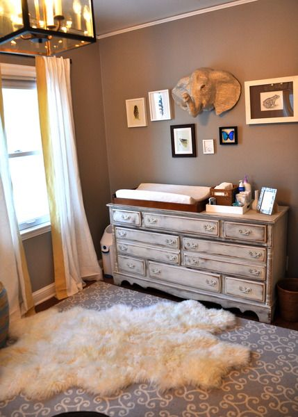 Love the layered rugs in this gender neutral nursery!Wall Colors, Ideas, Elephant Head, Boys Nurseries, Change Tables, Colors Palettes, Baby Boys, Gender Neutral Nurseries, Changing Tables