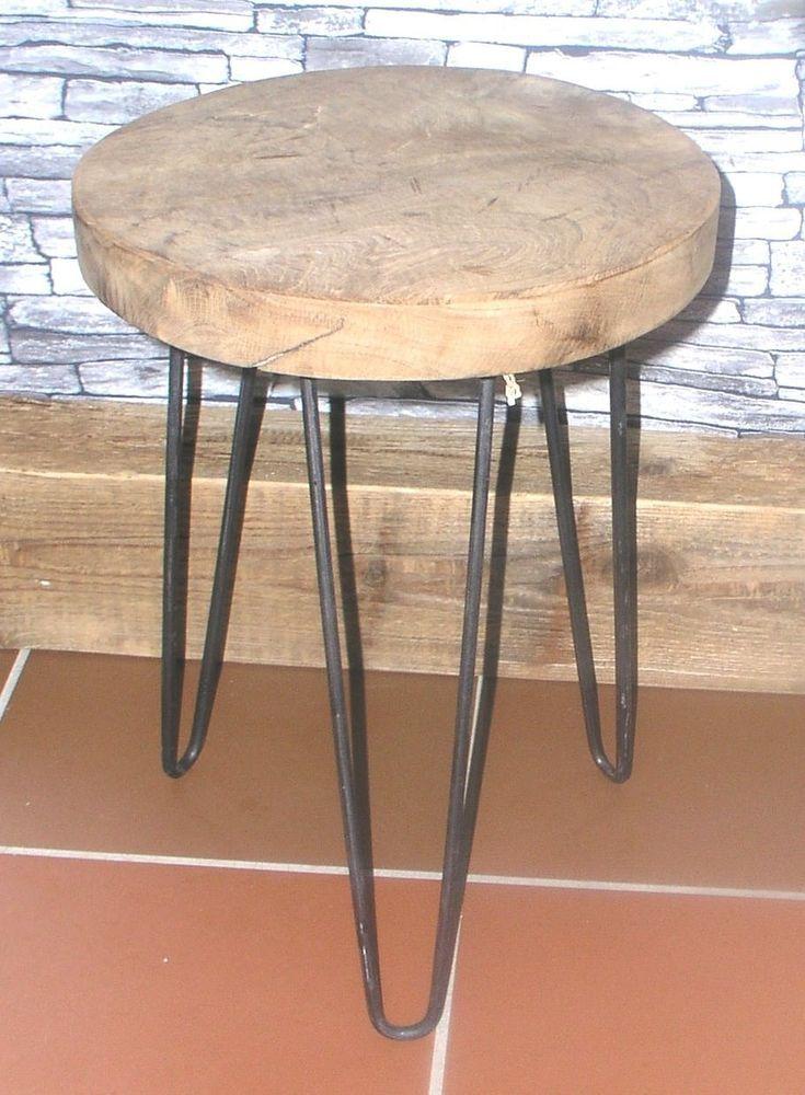 Sitzhocker Metall Teakholz Hocker Beistelltisch Industrial Style Retro 2 Mobel Wohnen Mobel Sitzbanke Hocker Hocker Beistelltisch Industrial Holz