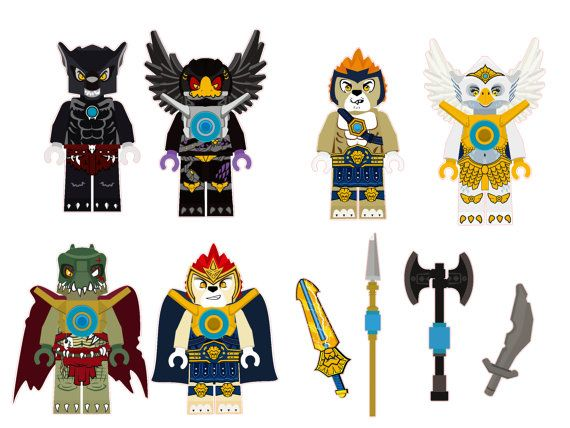 The Lego Chima Characters Removable Wall Stickers 6 piece Set with 4 free weapons
