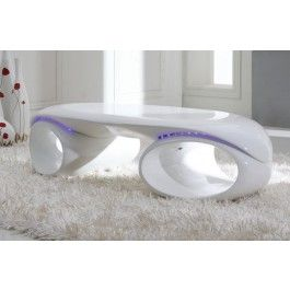 Tron - Contemporary Glossy White Coffee Table with LED Lights - 490.0000
