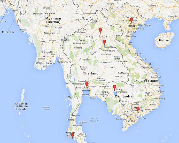 Nosso roteiro no Sudeste da Ásia. Imagem: Google Maps