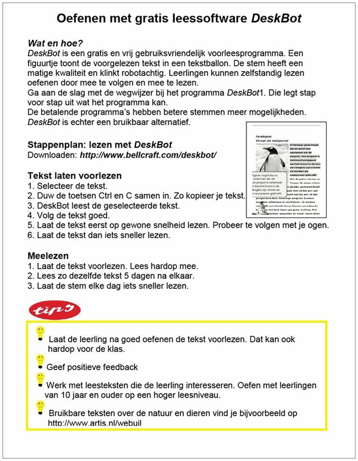 #Dyslexie > oefenen met gratis leessoftware DeskBot