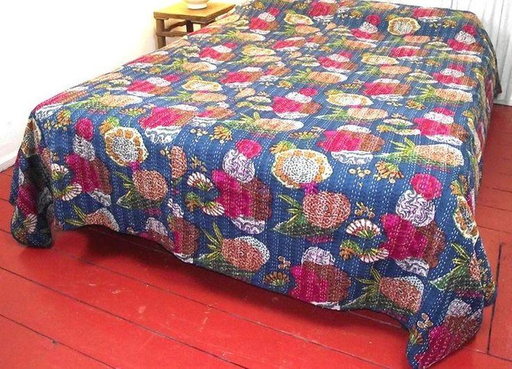 Indian Frut Print Kantha Quilt Handmade Ethnic Vintage Blanket Ralli Gudri Quilt #Unbranded #ArtDecoStyle