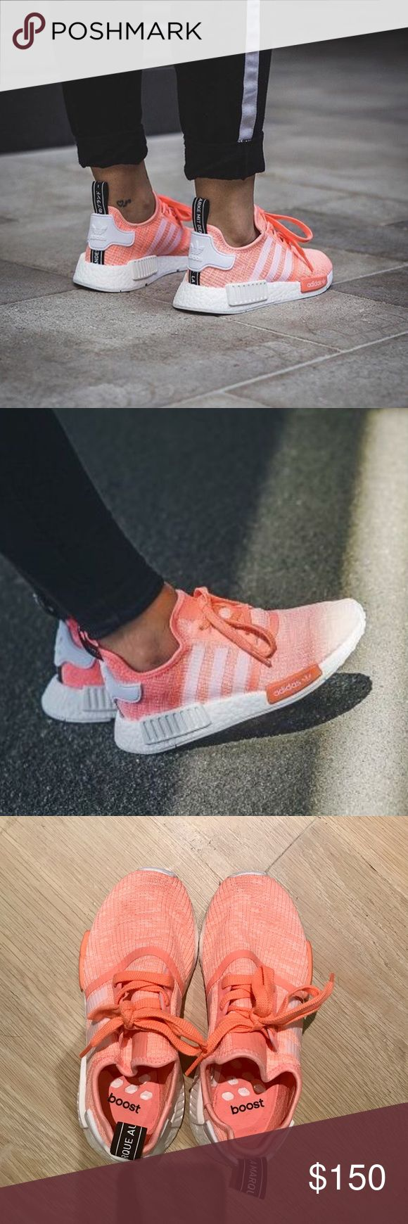 Adidas NMD R1 Runner in Sun Glow Pink (BY3034) 100% Authentic SUPER in-demand Adidas NMDs in Sun Glow shade. This colorway was a limited release in April 2017. Bought these from a legit reseller for $220 & went to the Adidas store to get them checked for authenticity, so guaranteed 100% authentic. Worn only twice and still in amazing condition, but I unfortunately don't have the box anymore. Price firm but am willing to go lower on ️️ or ♈️enmo. **THESE RUN LARGE** would fit a woman's size 6…