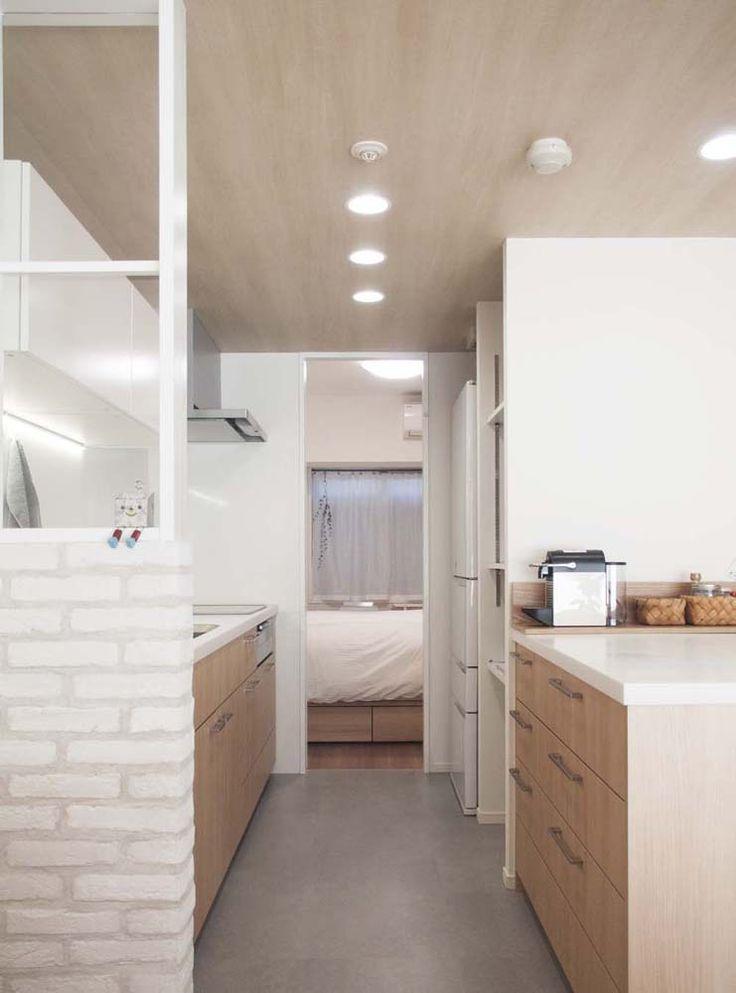 キッチン、カウンター、可動式、収納棚、造作、オリジナル、マンション、リノベ、プラスエム、建築家