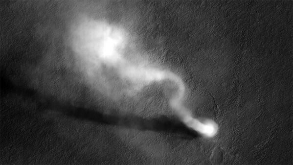 Mars tornado's pic taken by NASA's orbiter Reconnaissance in 2012