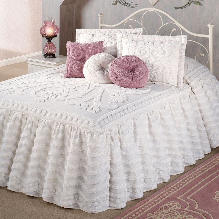 Intrigue Chenille Ruffled Flounce Oversized Bedspread ...