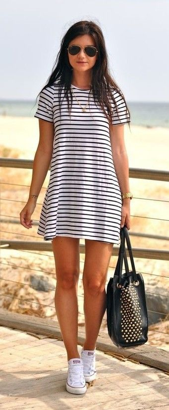 Black white striped short sleeve straight dress