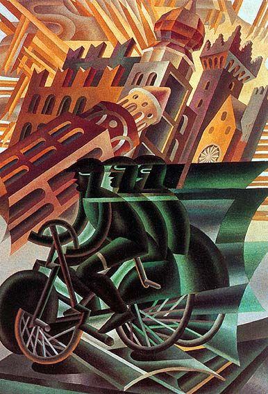 Fortunato Depero (1892-1960) – Le cycliste traverse la ville. Fortunato Depero é un personaggio importante di questa epoca poiché si è occupato di costumi teatrali e di grafica, essenziale per la diffusione delle riviste di moda.