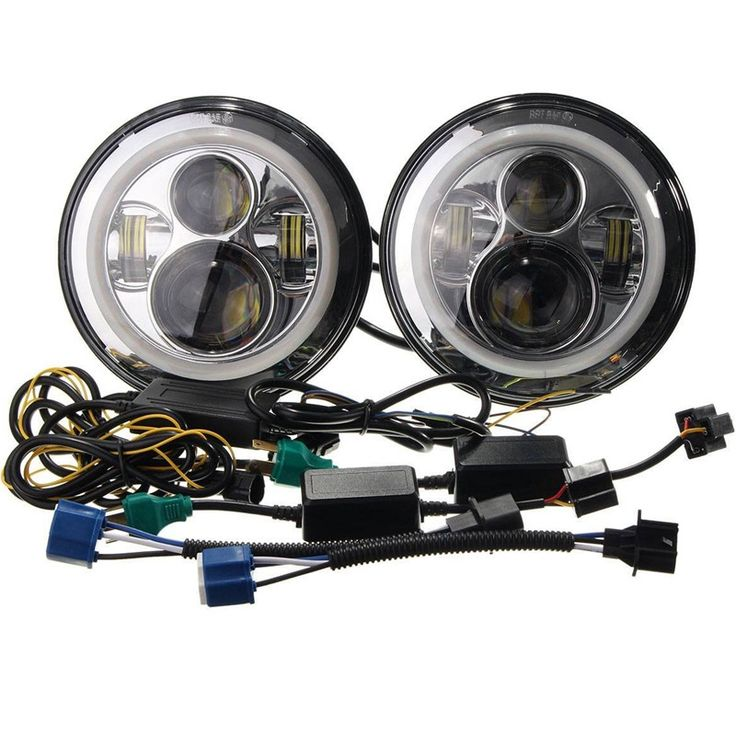 2pcs 7inch Round 45W Led Headlight for Truck 12v-24V With DRL led headlight replacement H4 Base