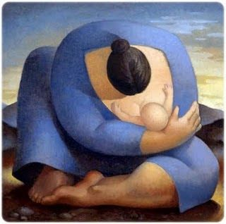 mother: solid, protecting, engrossed, intent, peaceful, in love, elemental. Botero