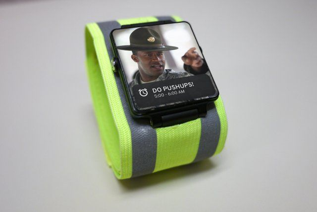 The Army does have a sense of humor- Great April Fools Joke!   Army officials on Saturday announced it will soon field this personal fitness bracelet that will allow Army leaders to track their Soldiers' fitness in real time. The technology will enable Army leadership to monitor their Soldiers' activity level, physical location, and intake of foods, liquids, and other substances.