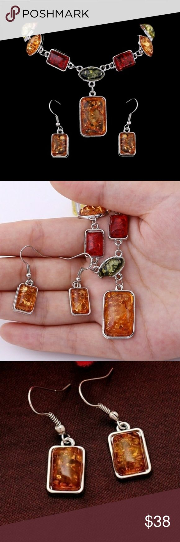 Sterling Silver African Amber Necklace Set African Amber Necklace & Earring Set Material: Amber (Brown, Red, Green,  Yellow); Alloy metal Occasion: Wedding Party; Evening on the Town; Banquet; Gift; Office; Dinner Package Includes: Necklace & Pair of Earrings Fashion Jewelry Jewelry Necklaces