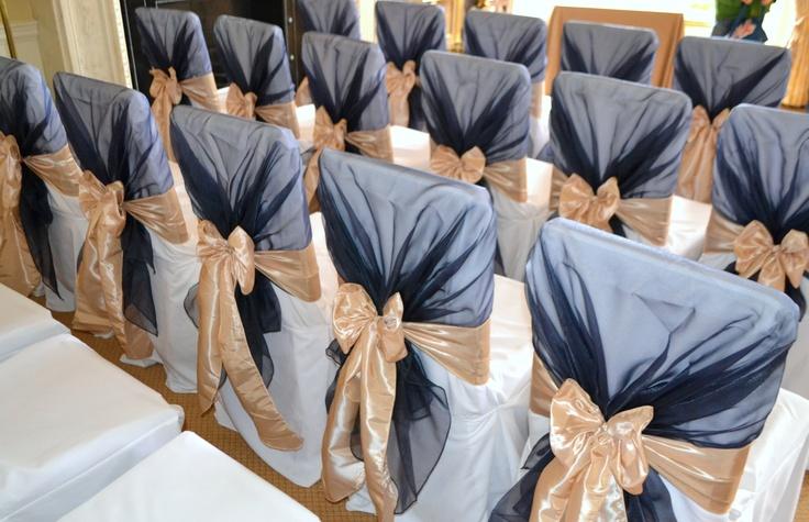 Navy Organza Chair Shawls and Champagne Satin Bows