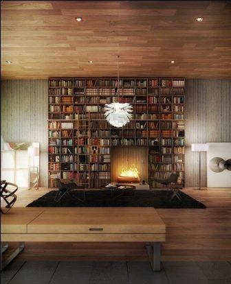 bibliotheque construite autour d'un foyer de cheminée sans conduit
