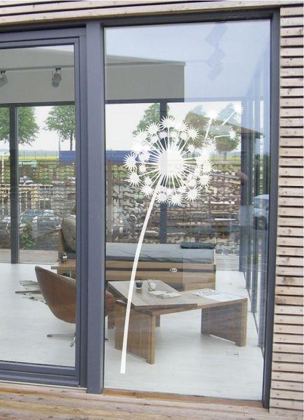 Ein elegantes Pusteblumen-Glastattoo, für Fenster oder auch Duschkabine geeignet.  In drei Größen erhältlich.    *Größen (BxH):*  *A*:  30 x 72 cm ...