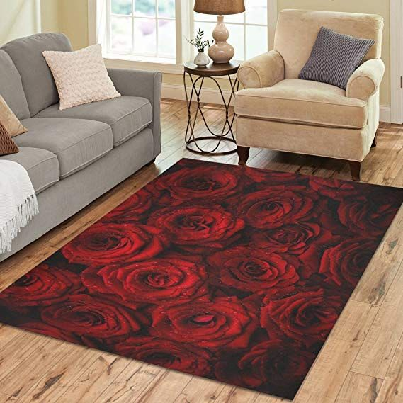 Design Area Rug Red Roses Carpet For Living Room Dining Room