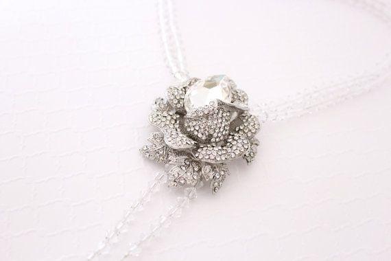 Wedding Statement Necklace, Bridal Statement Necklace, Swarovski Brooch Necklace, The Great Gatsby Jewelry, Crystal Multistrand Necklace