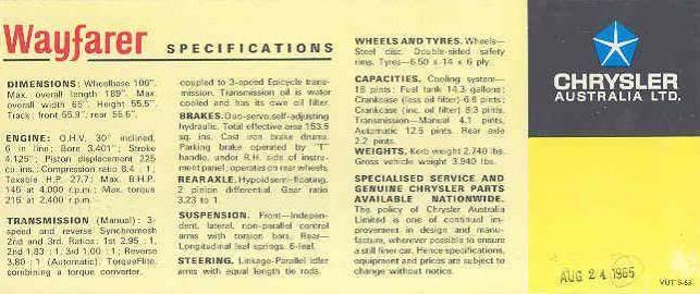 1966 Valiant AP6 Wayfarer brochure page 2