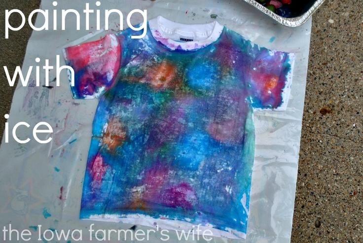 The Iowa Farmer's Wife: Exploring Ice: Painting a T-Shirt: Iowa Farmer S, Farmers, Craft Ideas Kids, Creative Kids, T Shirts, Colored Ice Cubes