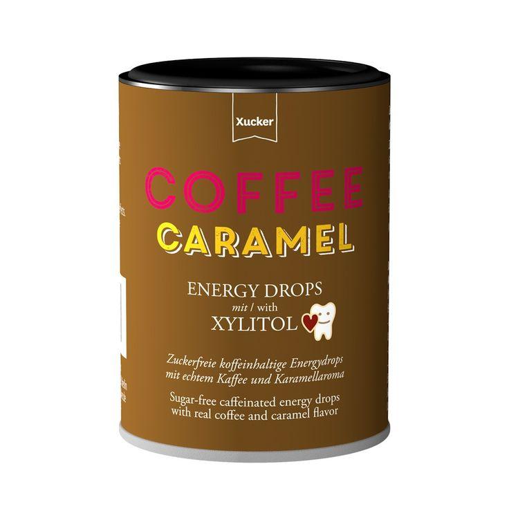 Xucker Energy-Drops Coffee Caramell – Der Energykick für Zwischendurch, nur mit Xylit gesüßt. Zahnpflege. GMO-Frei. Glutenfrei. Vegan.