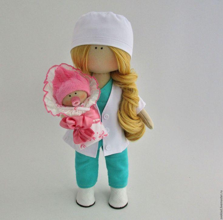 Купить Интерьерная кукла врач - комбинированный, белый, кукла врач, кукла ручной работы