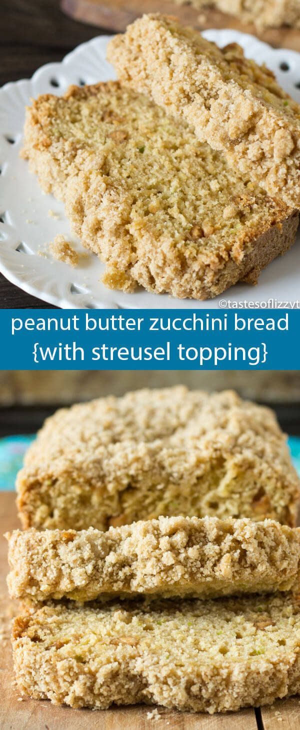 Hide your zucchini in this Peanut Butter Zucchini Bread with Brown Sugar Streusel. You'll never guess this bread has veggies inside! via @tastesoflizzyt