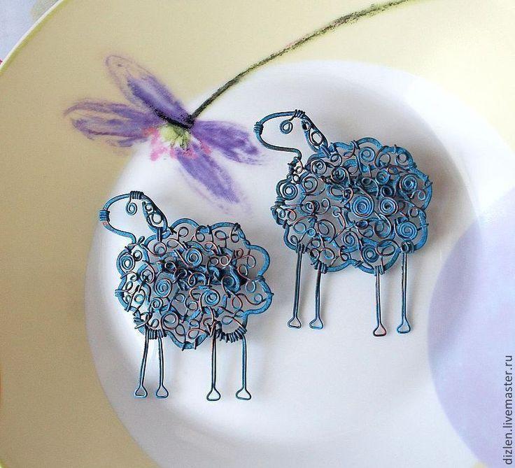 """Купить Брошь """"Овечка"""" - тёмно-бирюзовый, овечка, овца, овен, Овечки, брошка, смешная"""