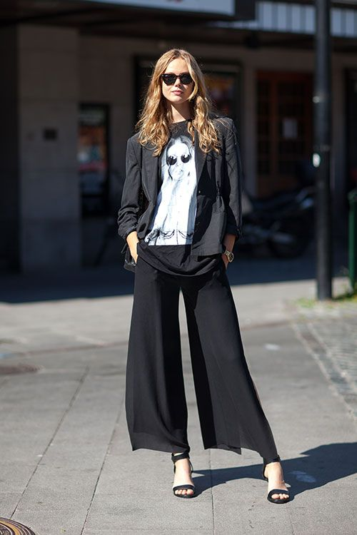 Stockholm Street Style Spring 2014: Street Fashion, Stockholm Street Style, Palazzo Pants, Fashion Week, Warm Weather Outfits, Style Spring, Models Street Style, Frida Gustavsson, Wide Pants
