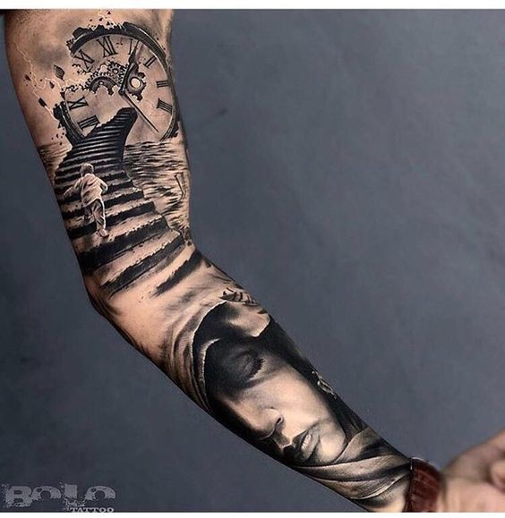 Tattoo sleeve. Clock stairs